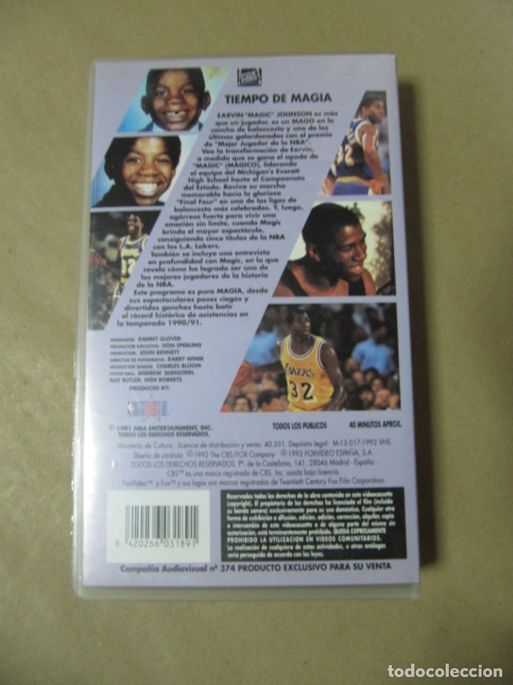 Coleccionismo deportivo: PELICULA DE VIDEO VHS CBS FOX NBA TIEMPO DE MAGIA MAGIC JOHNSON BALONCESTO - Foto 2 - 175563664