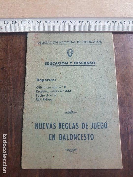 NUEVAS REGLAS DE JUEGO EN BALONCESTO1949. DELEGACIÓN NACIONAL DE SINDICATOS. (Coleccionismo Deportivo - Libros de Baloncesto)