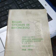 Coleccionismo deportivo: REGLAS OFICIALES DE BALONCESTO 1968-1972 EDICIÓN 1970. Lote 182615853