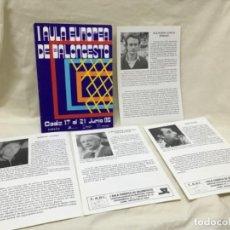 Coleccionismo deportivo: I AULA ESPAÑOLA DEL BALONCESTO CADIZ 1985 BASKET PROGRAMA GENERAL Y FICHAS 8 ENTRENADORES . Lote 191610085