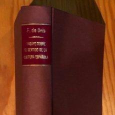 Libros: ENSAYO SOBRE EL SENTIDO DE LA CULTURA ESPAÑOLA (30€). Lote 157387954