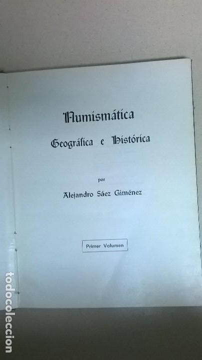 Libros: Numismática .Autor: Alejandro Sáez Gimenez. - Foto 2 - 158165094