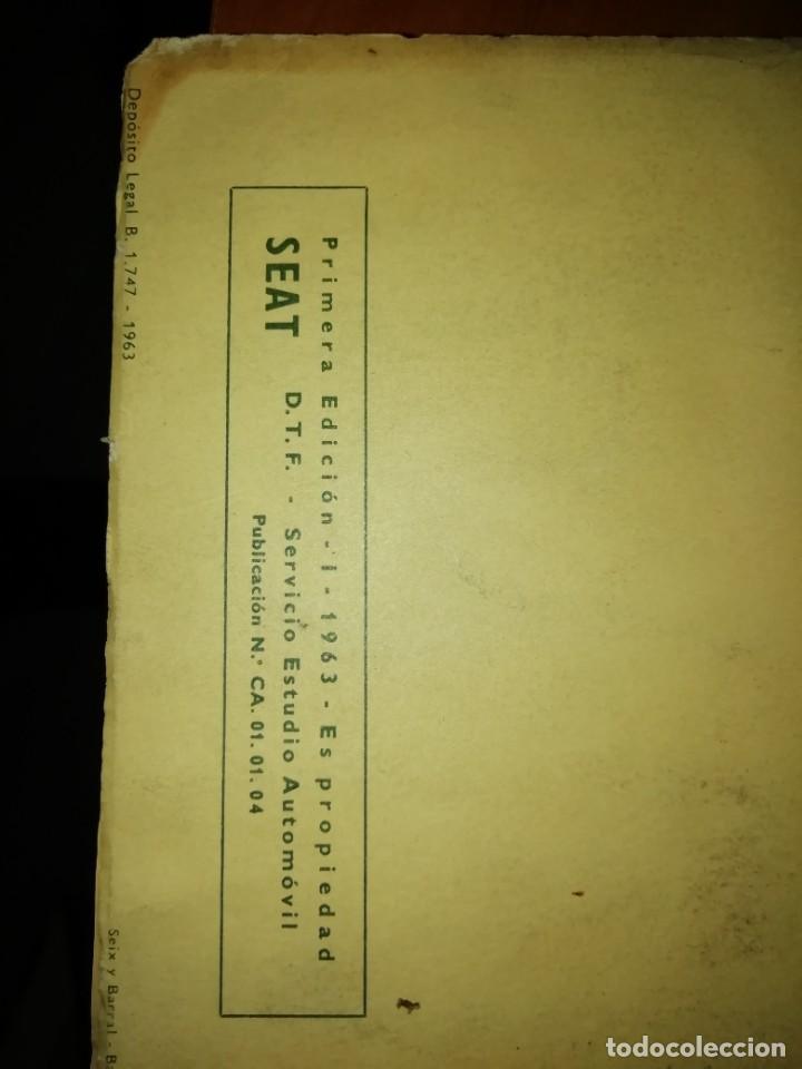 Libros: SEAT 1500 LIBRO DE USO Y ENTRETENIMIENTO AÑO 1963 - Foto 2 - 128763995