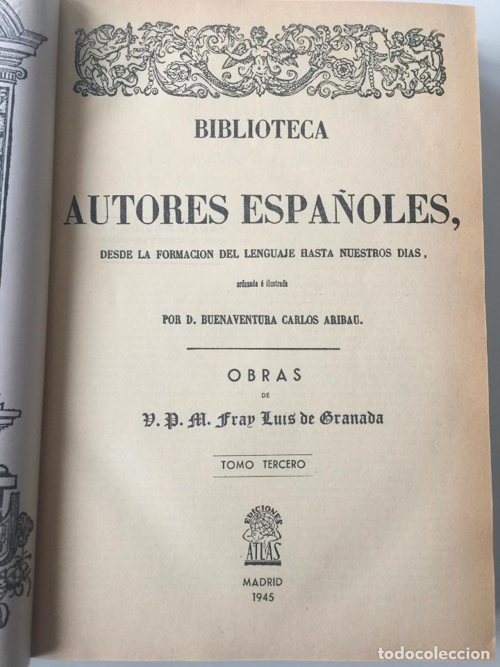 Libros: BIBLIOTECA DE AUTORES ESPAÑOLES - FRAY LUIS DE GRANADA - 3 TOMOS - MADRID 1944 - Foto 2 - 147405702