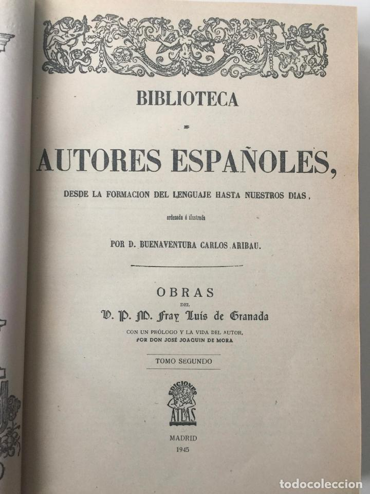 Libros: BIBLIOTECA DE AUTORES ESPAÑOLES - FRAY LUIS DE GRANADA - 3 TOMOS - MADRID 1944 - Foto 3 - 147405702