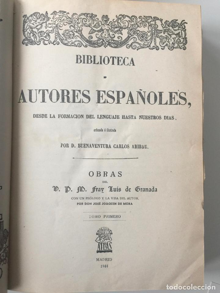 Libros: BIBLIOTECA DE AUTORES ESPAÑOLES - FRAY LUIS DE GRANADA - 3 TOMOS - MADRID 1944 - Foto 4 - 147405702