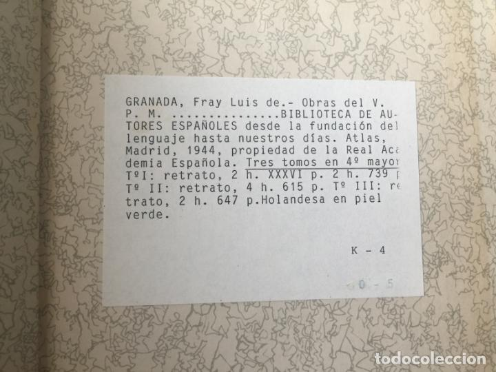 Libros: BIBLIOTECA DE AUTORES ESPAÑOLES - FRAY LUIS DE GRANADA - 3 TOMOS - MADRID 1944 - Foto 5 - 147405702