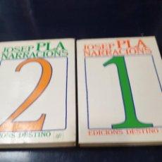 Libros: JOSEP PLA NARRACIONS 2 VOLMS. EDICIONS DESTINO. Lote 245071825