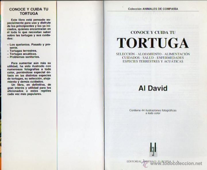 Libros: Conoce y cuida tu tortuga. Al David. Hispano Europea, 1ª edición, 2001 - Foto 4 - 262128640