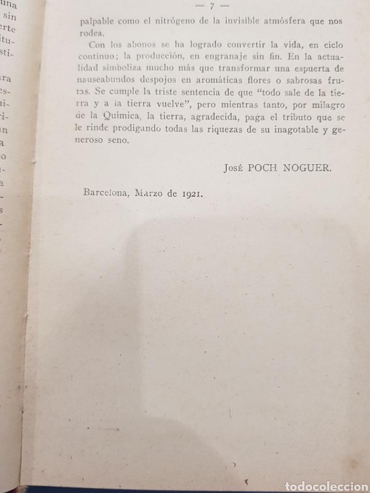 Libros: Abonos , Editorial Bailly-Bailliere ,Jose Poch Noguer ,año 1921 - Foto 2 - 252067135