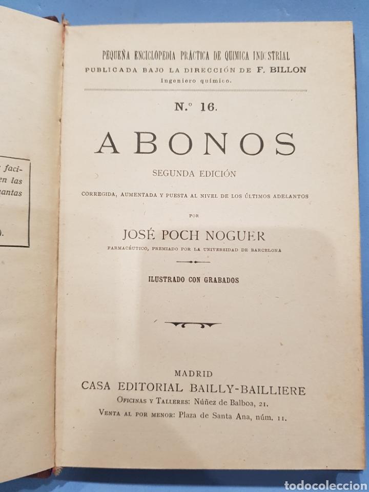 ABONOS , EDITORIAL BAILLY-BAILLIERE ,JOSE POCH NOGUER ,AÑO 1921 (Libros Nuevos - Ciencias, Manuales y Oficios - Biología)