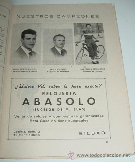 Coleccionismo deportivo: Sociedad Ciclista Bilbaina - año 1958. - Ciclismo - contiene los eventos celebrados en Bilbao durant - Foto 2 - 24953402