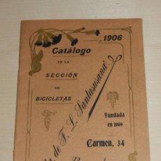 Coleccionismo deportivo: BICICLETAS - CATALOGO DE LA SECCION DE BICICLETAS VDA DE F.L. SANTASUSANA, BARCELONA 1906. ILUSTRADO. Lote 34818694