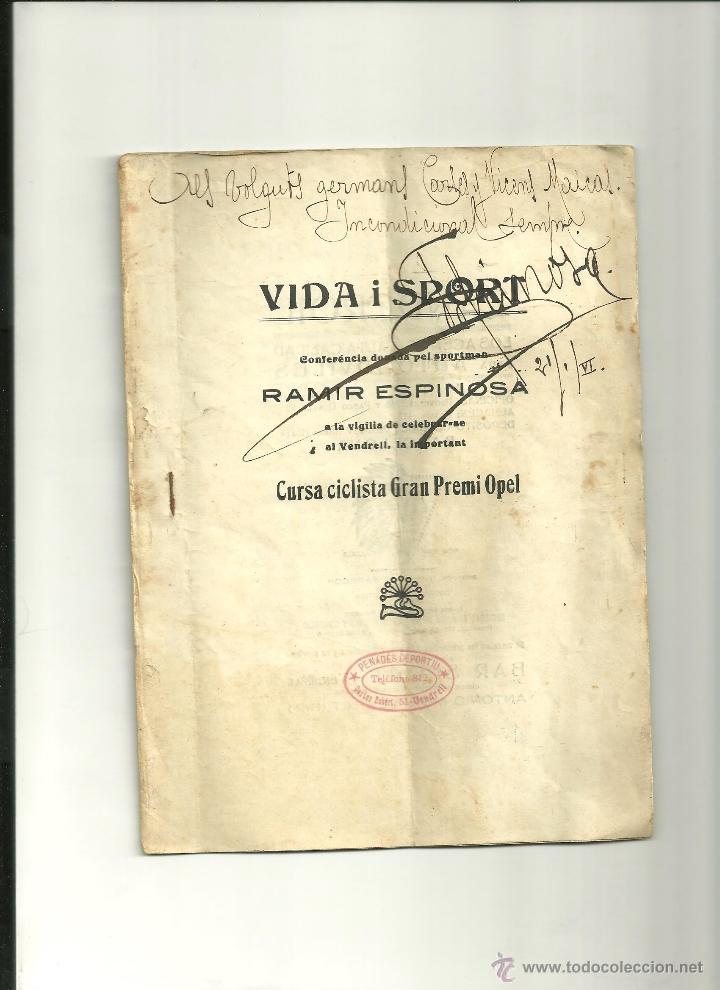3184.- VENDRELL-VIDA I SPORT-CONFERENCIA DEL SPORTISTA RAMIR ESPINOSA-CICLISMO (Coleccionismo Deportivo - Libros de Ciclismo)