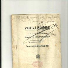 Coleccionismo deportivo: 3184.- VENDRELL-VIDA I SPORT-CONFERENCIA DEL SPORTISTA RAMIR ESPINOSA-CICLISMO. Lote 44197569