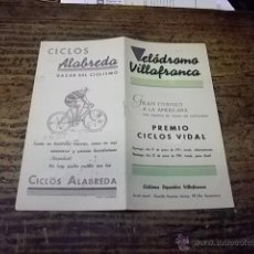 Coleccionismo deportivo: 3407.- CICLISMO-IVELODROMO DE VILLAFRANCA-GRAN TORNEO A LA AMERICANA. Lote 45152681