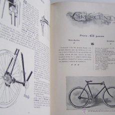 Coleccionismo deportivo: AÑO 1899 * BICICLETAS CRESCENT CATALOGO EN CASTELLANO * ILUSTRADO * 31 PÁGINAS. Lote 46371735