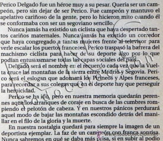 Coleccionismo deportivo: SIMPLEMENTE PERICO BIOGRAFÍA DE PEDRO DELGADO CICLISTA TOUR VUELTA ESPAÑA DEPORTE CICLISMO AS LIBRO - Foto 2 - 48307832