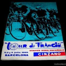 Coleccionismo deportivo: CICLISMO TOUR DE FRANCIA FRANCE 1965, PROGRAMA OFICIAL ZONA ESPAÑOLA, BARCELONA. PARTICIPANTES.... Lote 57968255