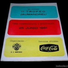 Coleccionismo deportivo: CICLISMO XIII EDICIÓN II TROFEO JAUMANDREU, AFICIONADOS, PROGRAMA ITINERARIO 25 JUNIO 1961.. Lote 57969826