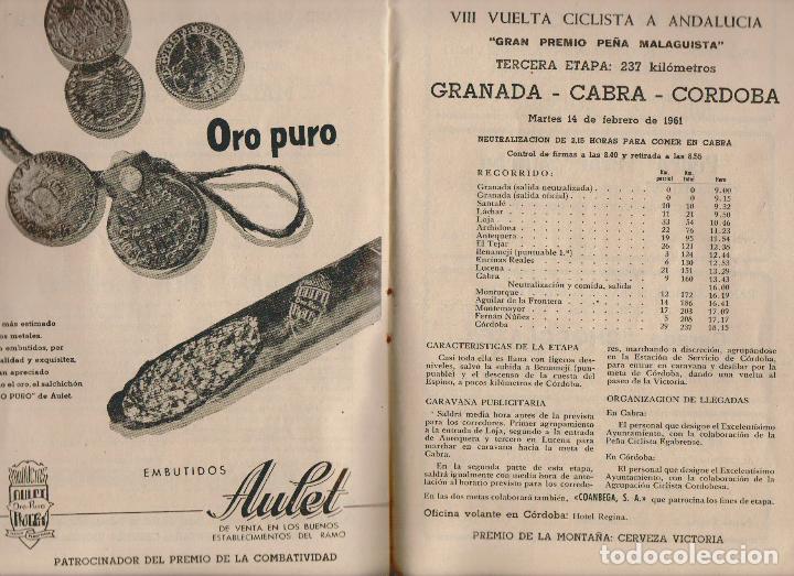 Coleccionismo deportivo: VIII vuelta ciclista a Andalucia.Año 1961.Programa + cartel. - Foto 7 - 73940615