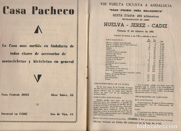 Coleccionismo deportivo: VIII vuelta ciclista a Andalucia.Año 1961.Programa + cartel. - Foto 8 - 73940615