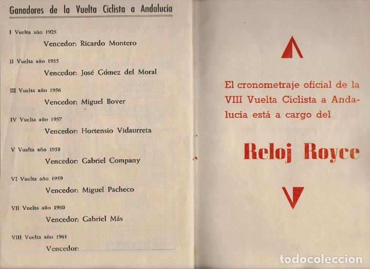 Coleccionismo deportivo: VIII vuelta ciclista a Andalucia.Año 1961.Programa + cartel. - Foto 9 - 73940615