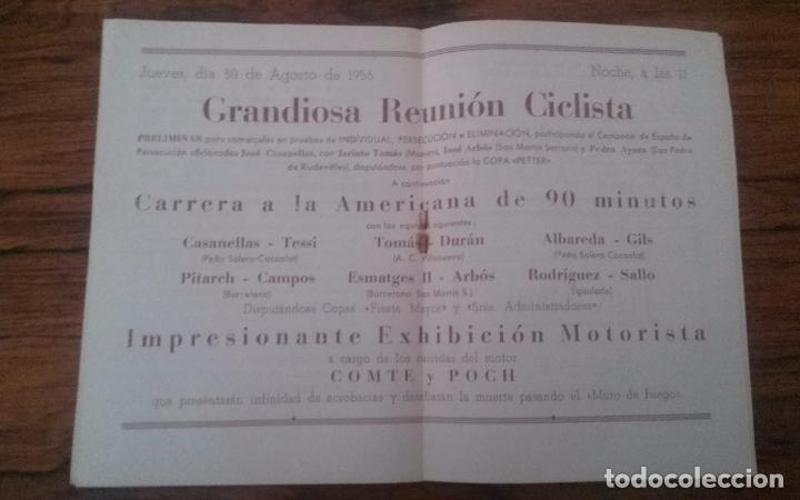 Coleccionismo deportivo: PROGRAMA CICLISMO DEPORTIVO VELODROMO VILAFRANCA, FIESTA MAYOR 1956. - Foto 4 - 113102883