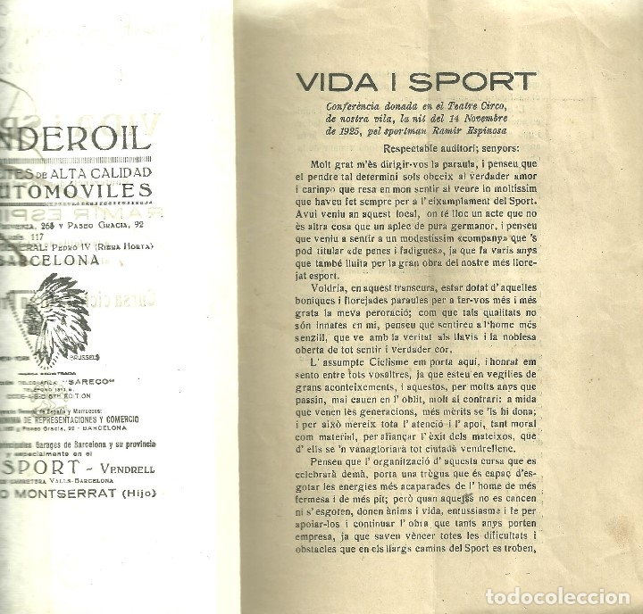 Coleccionismo deportivo: 3184.- VENDRELL-VIDA I SPORT-CONFERENCIA DEL SPORTISTA RAMIR ESPINOSA-CICLISMO - Foto 2 - 44197569