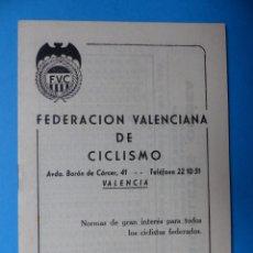 Coleccionismo deportivo: FEDERACION VALENCIANA DE CICLISMO - AÑO 1960. Lote 160085394