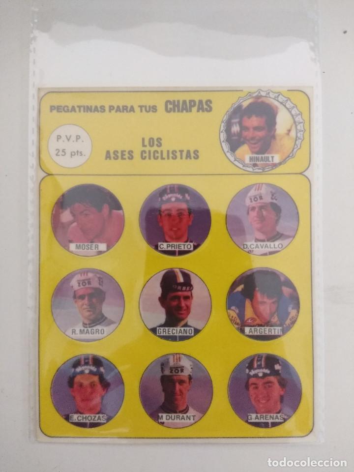 LOS ASES CICLISTAS/PEGATINAS PARA TUS CHAPAS/HINAULT/ARENAS/CHOZAS/MOSER. (Coleccionismo Deportivo - Libros de Ciclismo)
