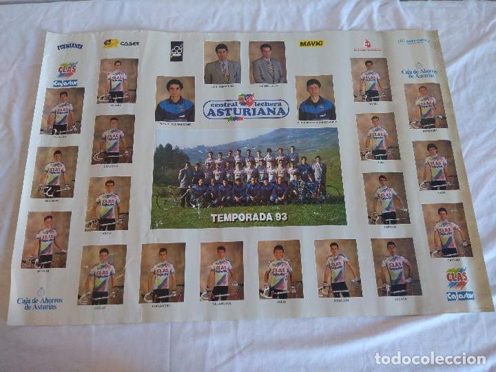 POSTER EQUIPO CICLISTA CLAS CAJASTUR TEMPORADA 93. (Coleccionismo Deportivo - Libros de Ciclismo)