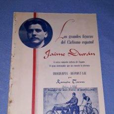 Coleccionismo deportivo: JAIME DURAN CICLISTA Y ENTRENADOR DE TORTOSA BIOGRAFIA REPORTAJE AÑO 1945 ORIGINAL. Lote 191027423