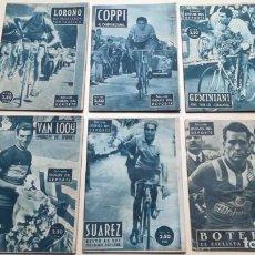 Coleccionismo deportivo: COLECCION IDOLOS DEL DEPORTE. 1958. COPPI, LOROÑO, VAN LOOY, SUAREZ, BOTELLA Y GEMINIANI. Lote 191246116