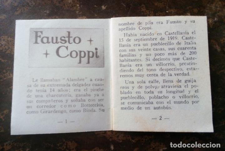 Coleccionismo deportivo: MINILIBRO EDITORIAL DEPORTIVA FHER Nº 49 - FAUSTO COPPI - AÑOS 50. - Foto 4 - 193843037