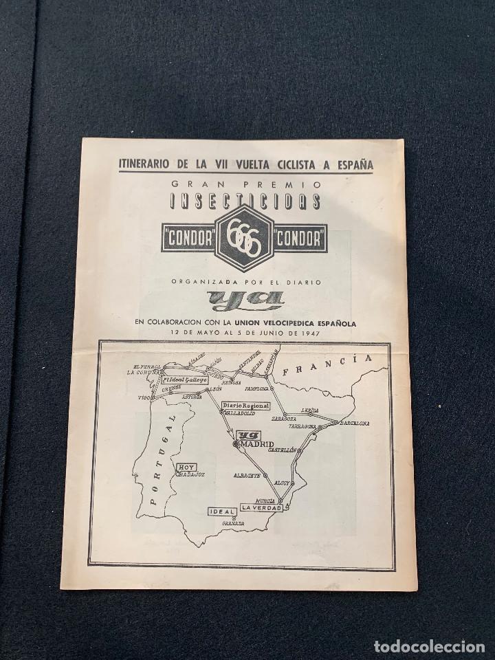 Coleccionismo deportivo: ITINERARIO VII VUELTA CICLISTA A ESPAÑA 1947 DELOOR - BERRENDERO - DELIO RODRIGUEZ - LANGARICA - Foto 2 - 205670562