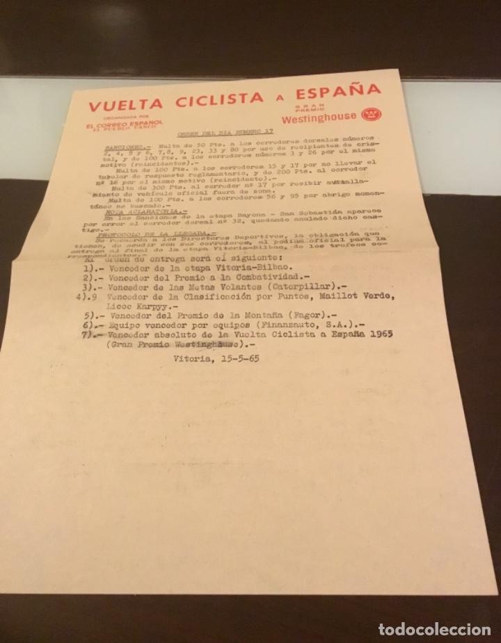 Coleccionismo deportivo: Dificil libro de ruta de la Vuelta ciclista España 1965,Regalo partes de carrera mirar las fotos - Foto 8 - 229466840