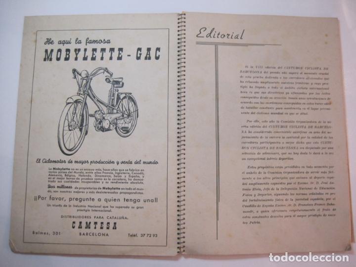 Coleccionismo deportivo: CICLISMO-IX CINTURON DE BARCELONA-2º GRAN PREMIO CICLOMOTORES MOBYLETTE-AÑO 1956-VER FOTOS-(K-2347) - Foto 8 - 255000300