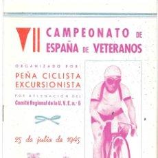 Coleccionismo deportivo: PEÑA CICLISTA EXCURSIONISTA DE VALENCIA. 1945. Lote 264792224