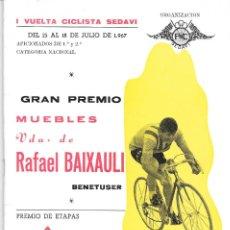 Coleccionismo deportivo: VUELTA CICLISTA A SEDAVÍ. 1967. Lote 293217653