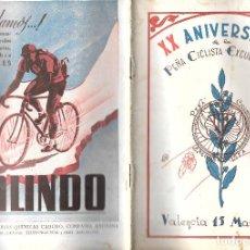 Coleccionismo deportivo: PEÑA CICLISTA EXCURSIONISTA DE VALENCIA. XX ANIVERSARIO. 1944. Lote 293220868