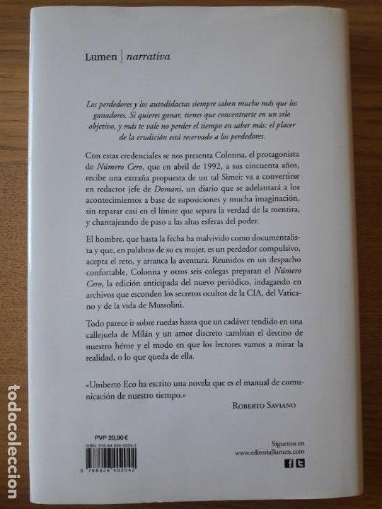 Libros: Numero Cero, Umberto Eco. Ed. Lumen, 2015. Primera edicion en castellano. Tapa dura. - Foto 2 - 210537523
