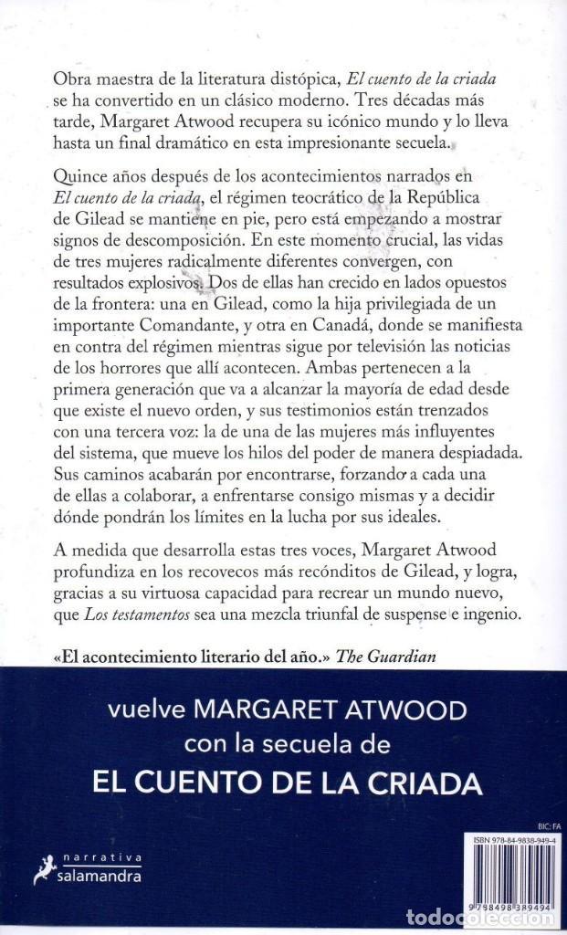 Libros: LOS TESTAMENTOS de MARGARET ATWOOD - SALAMANDRA, 2019 (NUEVO) - Foto 2 - 222454943