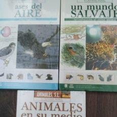 Libros: SET LOTE DE 3 LIBROS ANIMALES SL, LA SOCIEDAD ANIMAL: ANIMALES EN SU MEDIO, UN MUNDO SALVAJE Y ASES. Lote 196042155