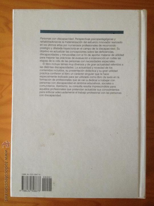 Libros: PERSONAS CON DISCAPACIDAD. PERSPECTIVAS PSICOPEDAGOGICAS Y REHABILITADORAS. MIGUEL A. VERDUGO ALONSO - Foto 3 - 47999975
