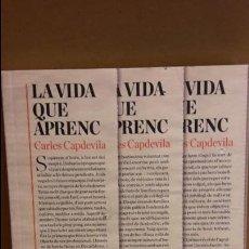 Libros: LA VIDA QUE APRENC / CARLES CAPDEVILA. ED / ARCADIA-2017 / NUEVO.. Lote 107606443