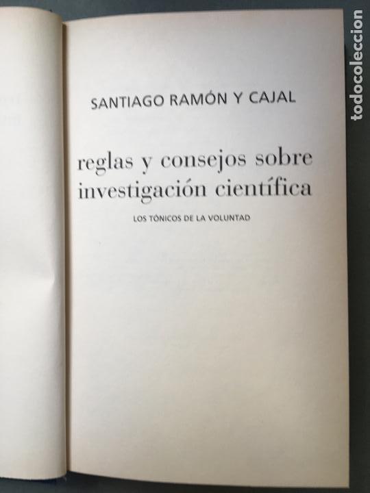 Libros: REGLAS Y CONSEJOS SOBRE INVESTIGACIÓN CIENTIFÍCA, DE SANTIAGO RAMÓN Y CAJAL - Foto 2 - 145965910
