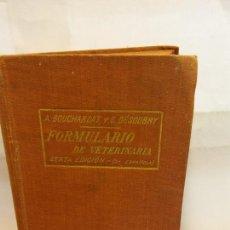 Livros: STQ.FORMULARIO DE VETERINARIA.EDT, ESPASA CALPE.BRUMART TU LIBRERIA.. Lote 188721212