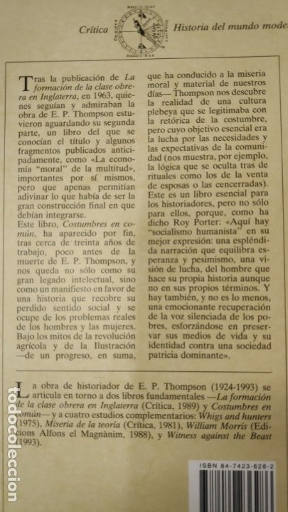 Libros: COSTUMBRES EN COMUN E.P. THOMPSON ( EDITORIAL CRITICA ) - Foto 2 - 175781124