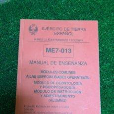 Libros: MANUAL DE ENSEÑANZA EJERCITO DE TIERRA. Lote 180025760